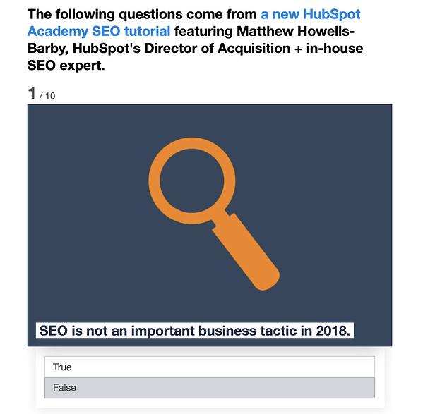 Quiz sul post del blog HubSpot