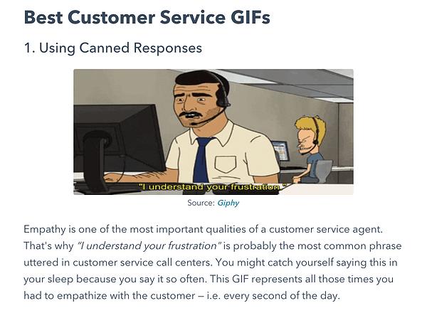Divertente post sul blog HubSpot con GiFF