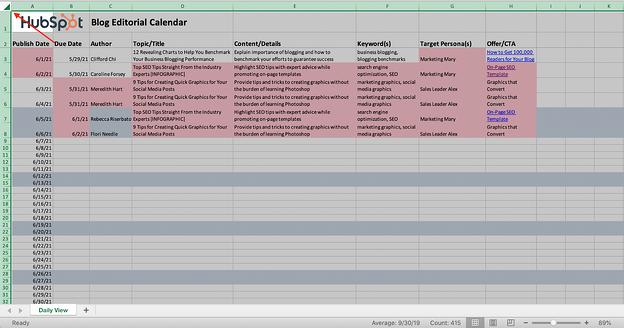 Screenshot di un documento Excel con l'intero foglio evidenziato.