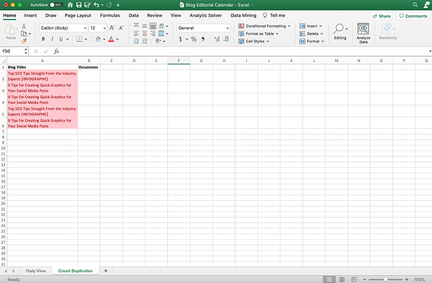 Foglio Excel con i duplicati contati.