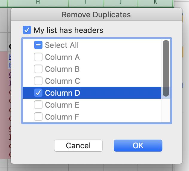 Rimuovi il selettore di colonne dei duplicati su Excel.
