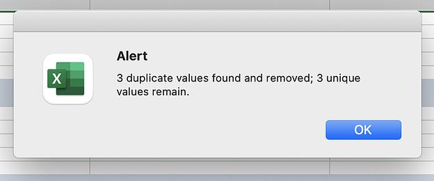 Screenshot di un avviso da Excel.