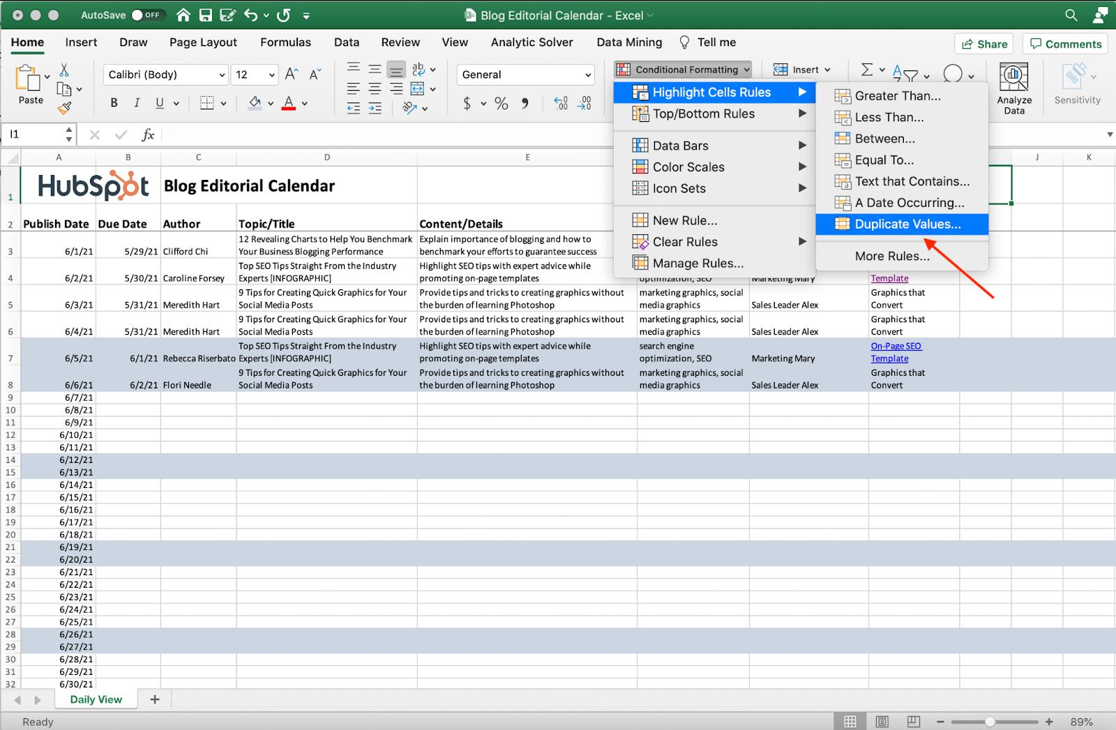 Screenshot della rimozione di valori duplicati in Excel.
