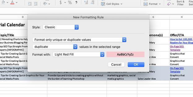 Screenshot di Excel delle regole di formattazione.