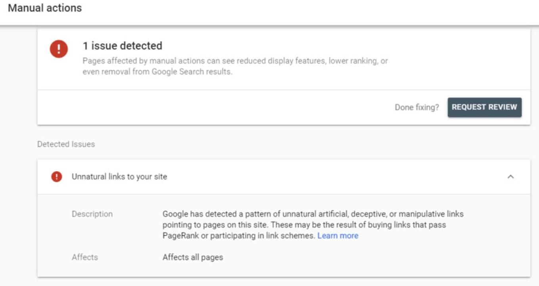 Pulsante Richiedi revisione di Google per rimuovere un backlink