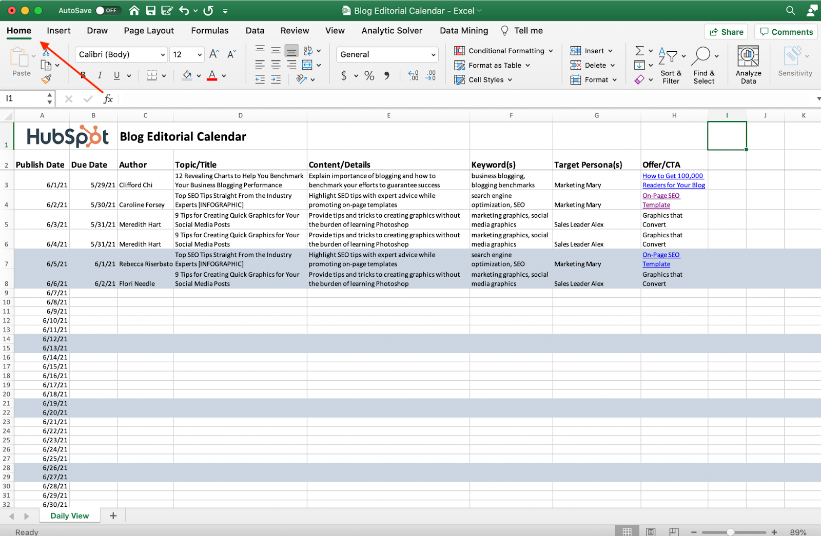 Screenshot della scheda Home di Excel.