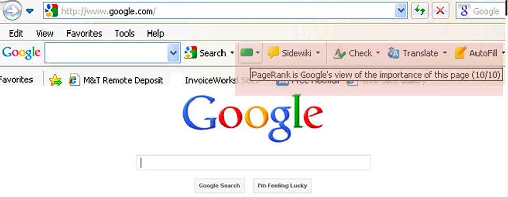 La barra degli strumenti PageRank