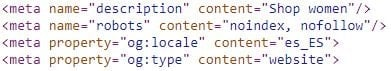 un esempio di meta tag noindex