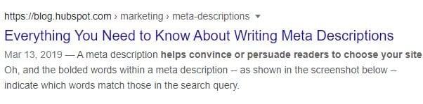 un esempio HubSpot di meta descrizione sulle SERP