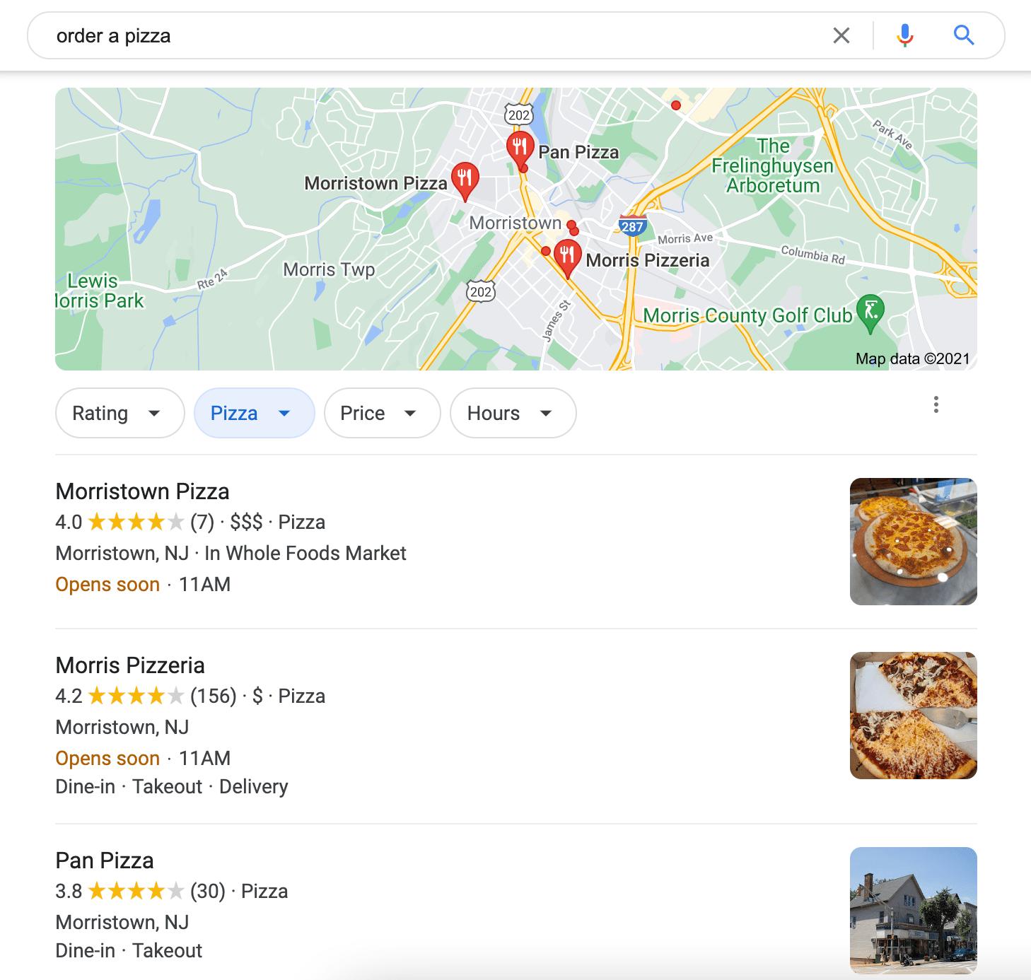 mostrare pizzerie locali nelle query di ricerca per il termine di ricerca ordinare una pizza