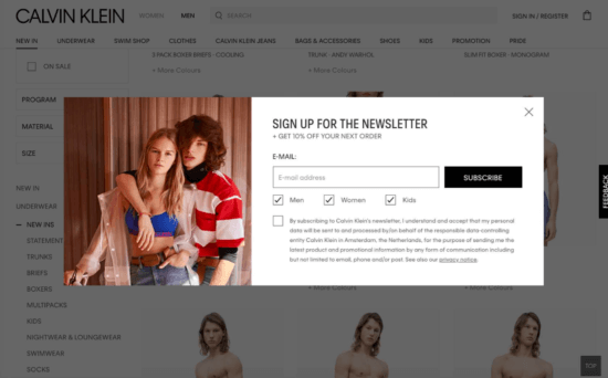 Popup di strategia di marketing per l'e-commerce