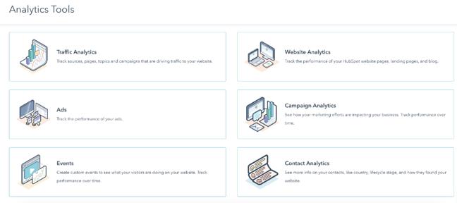 Lo strumento di analisi HubSpot può creare report per marketing, vendite e servizi.