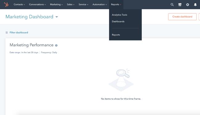 Lo strumento HubSpot Analytics può creare grafici per i tuoi report.