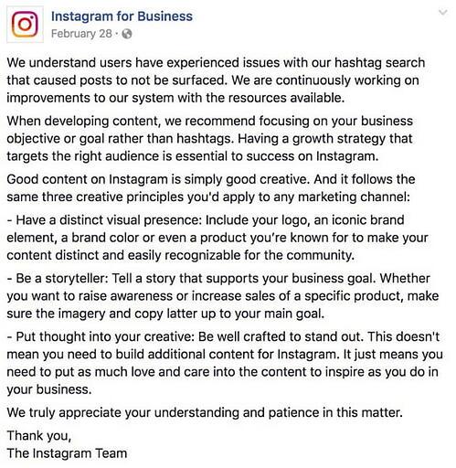 Instagram for Business ha pubblicato una dichiarazione che alludeva allo shadowbanning sulla loro pagina Facebook nel febbraio 2019