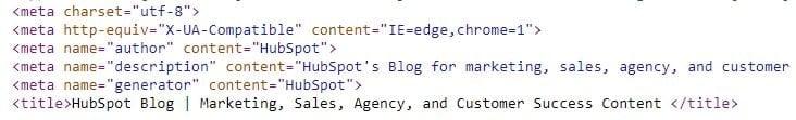 un esempio di meta tag nel codice