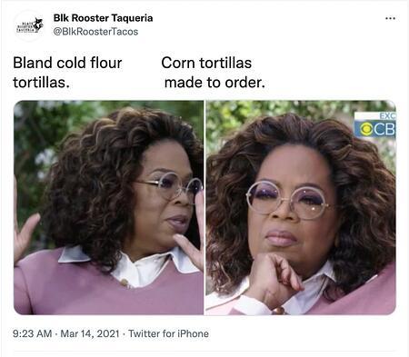esempio di meme marketing di Black Rooster Taqueria