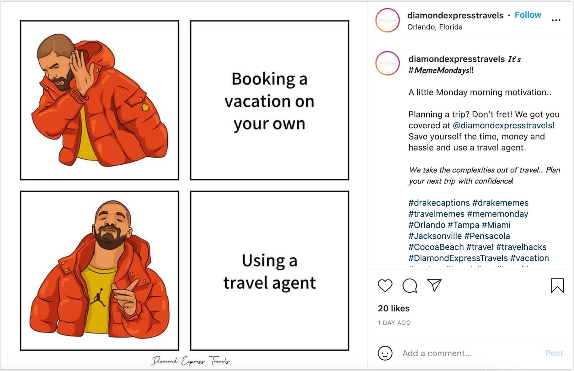 esempio di meme marketing di Diamond Express Travels