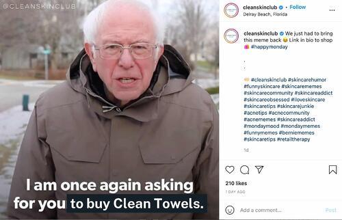 esempio di meme marketing di Clean Skin Club
