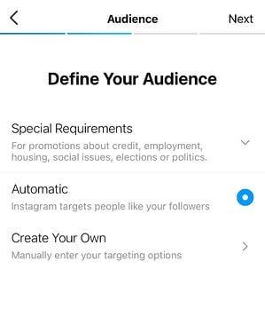 come usare la promozione a pagamento di instagram: definisci il tuo pubblico