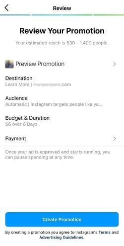 come utilizzare la promozione a pagamento di instagram: revisione della promozione