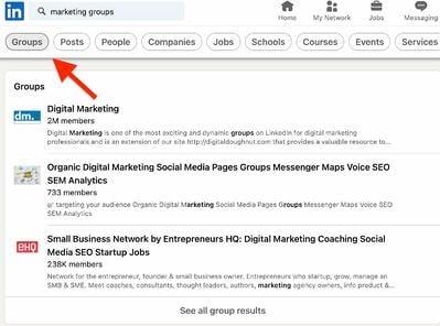 Come trovare gruppi su LinkedIn passaggio 2