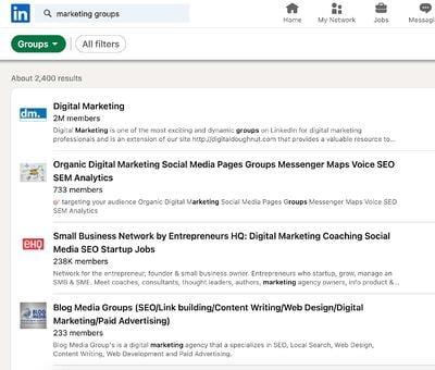 Come trovare gruppi su LinkedIn passaggio 3