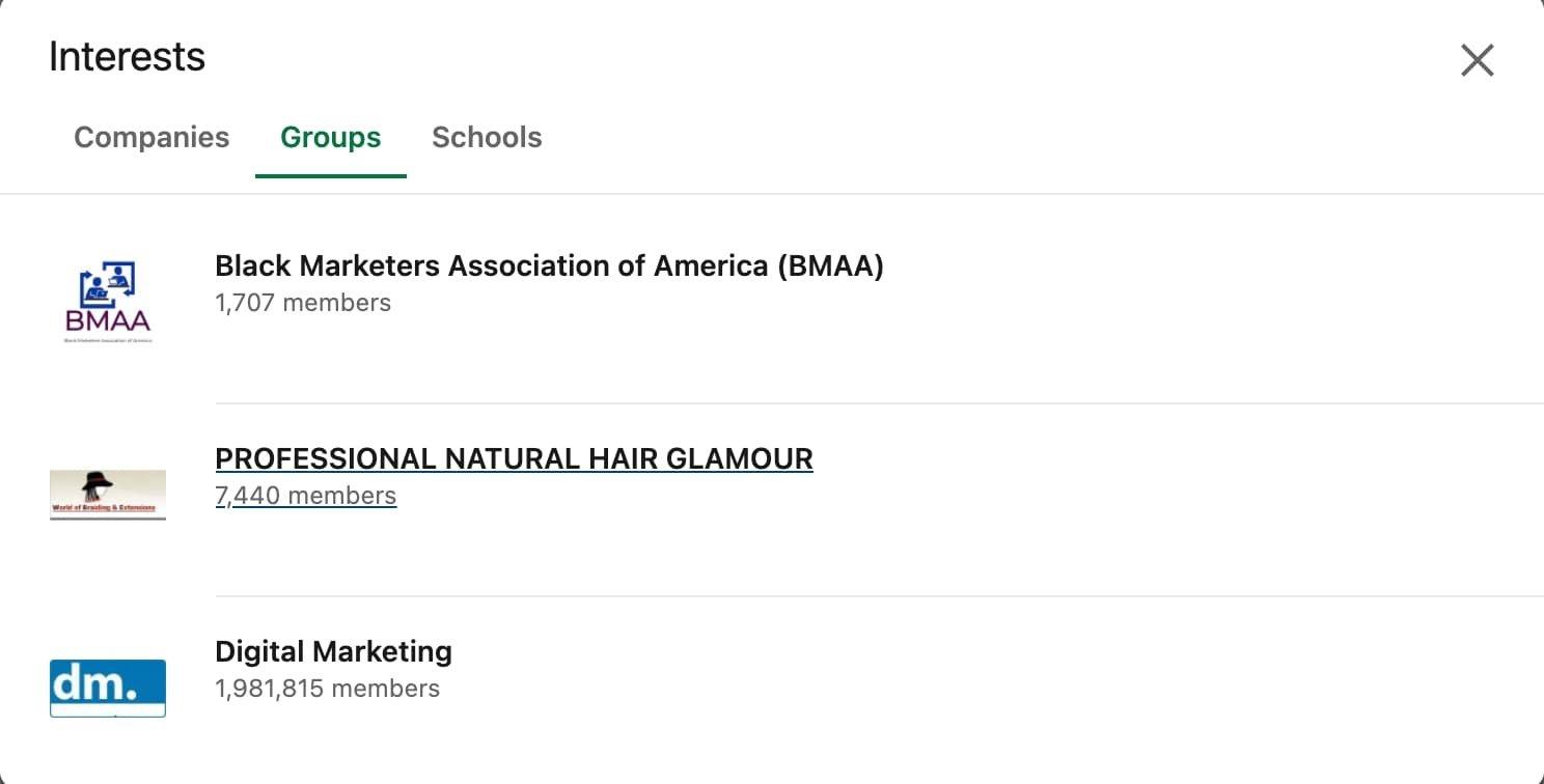 dove trovare i tuoi gruppi in linkedin tramite la sezione interessi