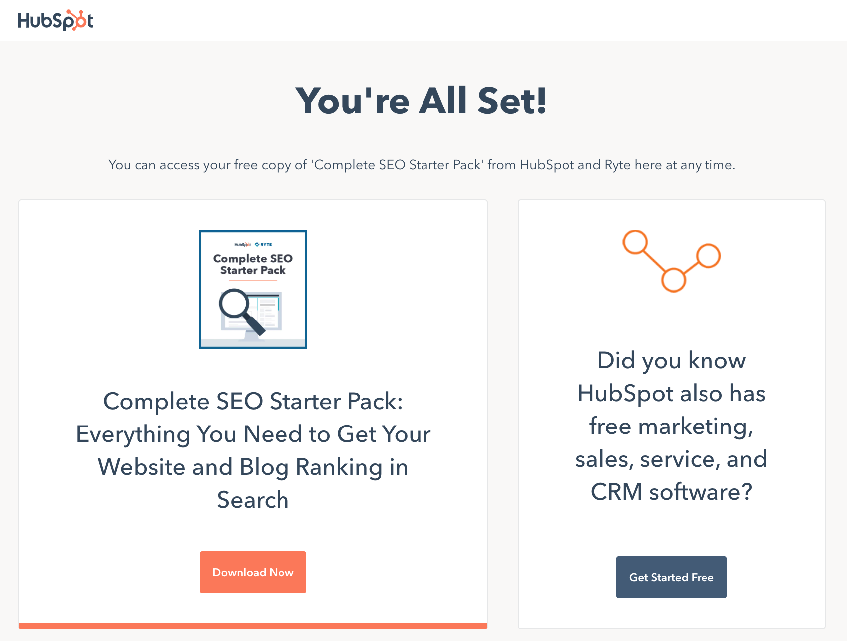 Pagina di ringraziamento di HubSpot SEO Starter Pack