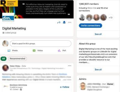 Pannello di controllo del gruppo LinkedIn